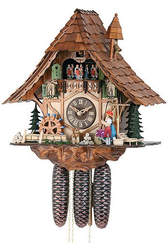 (German Cuckoo Clock 8-day-movement Chalet-Style 16.00 inch - Authentic black forest cuckoo clock by)