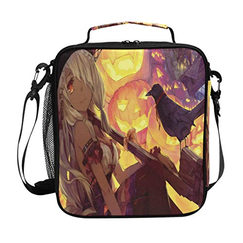 Inspiring Anime Halloween Wallpaper Lunch Bag Womens Insulated Lunch Tote Containers Zipper Square Lunch Box for Kids Men Adults Boys Girls