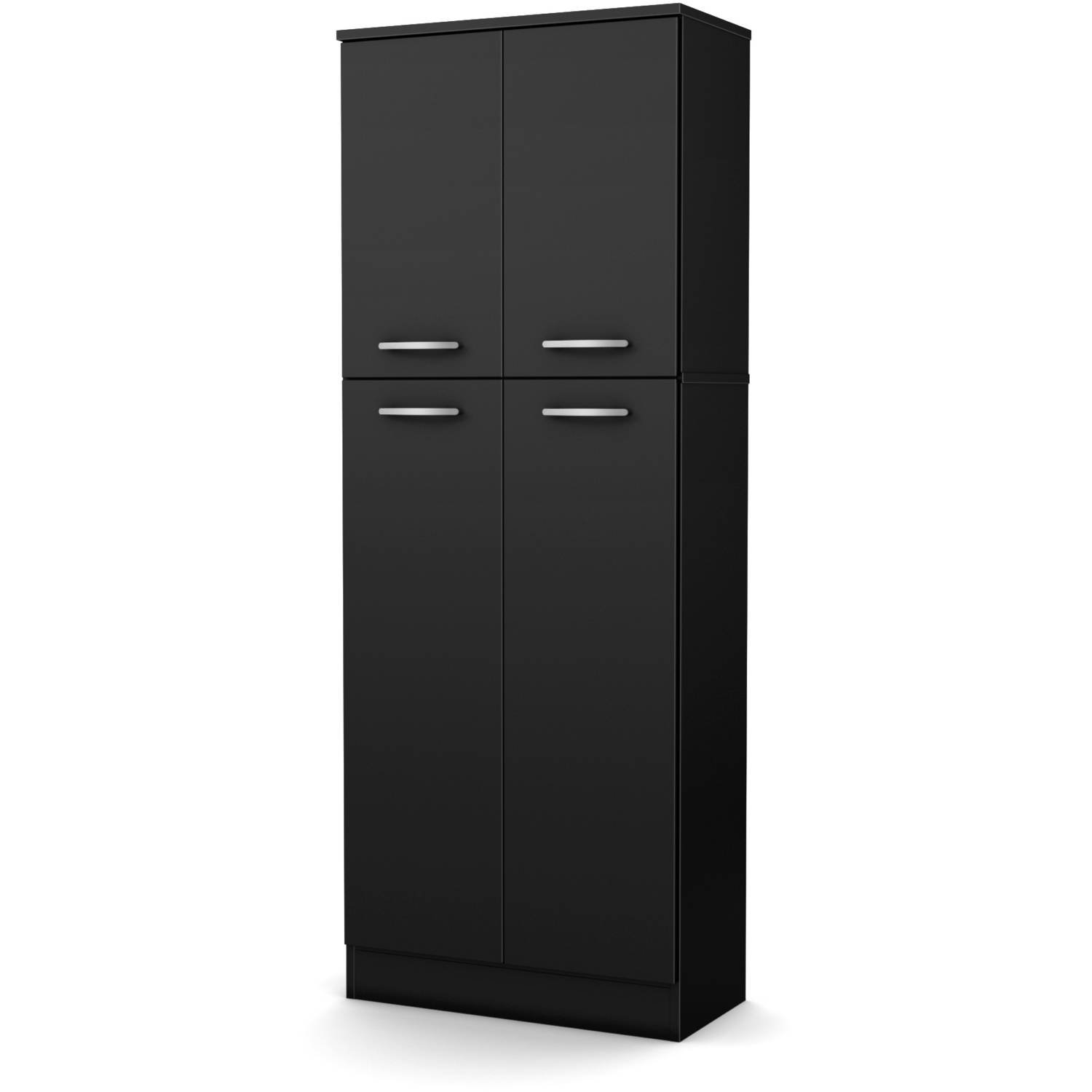 Elegant Tall 4-Door Storage Pantry with 3 Adjustable Shelves in 2 Separated Storage Spaces, Made from Non-Toxic Laminated Particleboard, Black + Expert Home Guide by Love US
