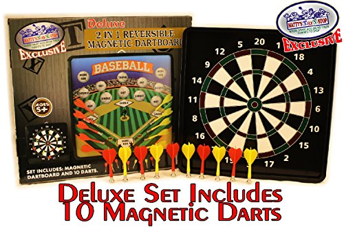 Deluxe 2-in-1 Reversible Magnetic Dartboard (Dart Board) with 10 Darts, Featuring Standard Darts & Baseball Games -