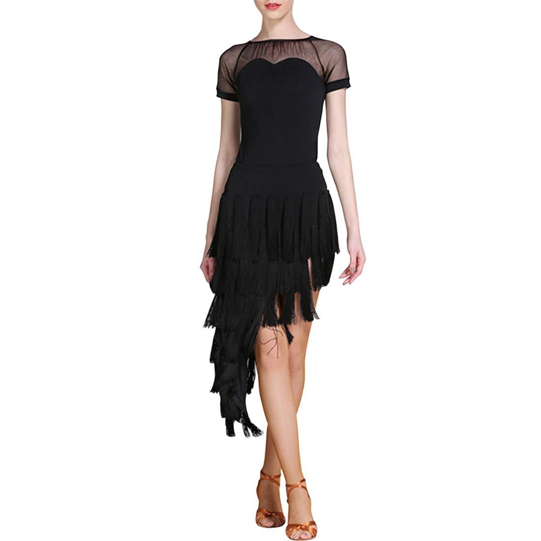 Black BESBOMIG Stylish Latin Dance Dress Sets Women  Short Sleeve HighLow Dance Clothing