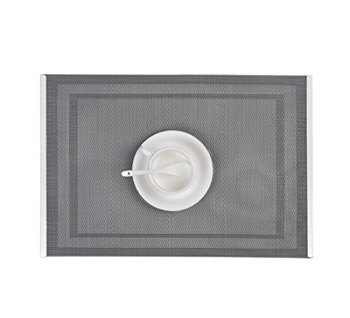Table Mats with Stainless Steel Edge Cover Both Sides (Set of 6), EgoEra Place Mats Sets Table Place Dinner Mats Washable Plastic Vinyl Table Mats for Dining / Kitchen Table, 4530cm, (Stainless Place Set)