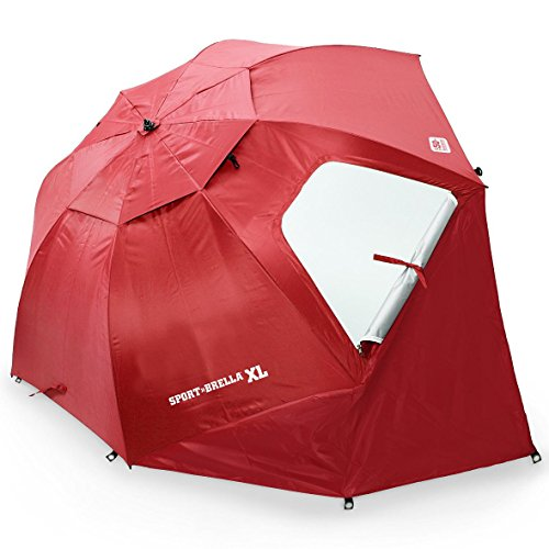 - Sport-Brella XL Vented SPF 50+ Sun and Rain Canopy Umbrella for Beach and Sports Events (9-Foot, Deep Red)