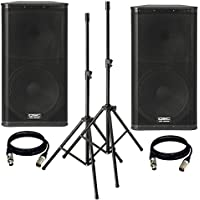 (2) QSC KW152 1000 Watts 15-Inch 2-Way Powered Loudspeaker. With (2) Speaker Stand and (2) XLR Cables.