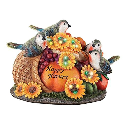 Happy Harvest - Collections Etc Lighted Happy Harvest Birds Tabletop Figurine