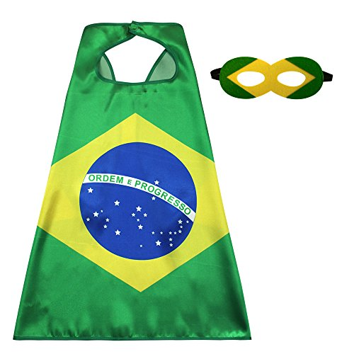 Kids Flag Cape Costume with Felt Mask -Satin Cape for Boys Sports Events Games Dress Up Party Decoration (Brazil)