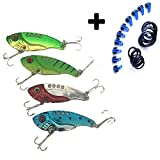 RSSZL 4PCS Fishing Lures + 10PCS Lure Bait Hook Keeper Metal VIB Hard Blade Baits Hooks Topwater Lures for Bass Trout Walleyes Fishing Spoons(PACK of 14)