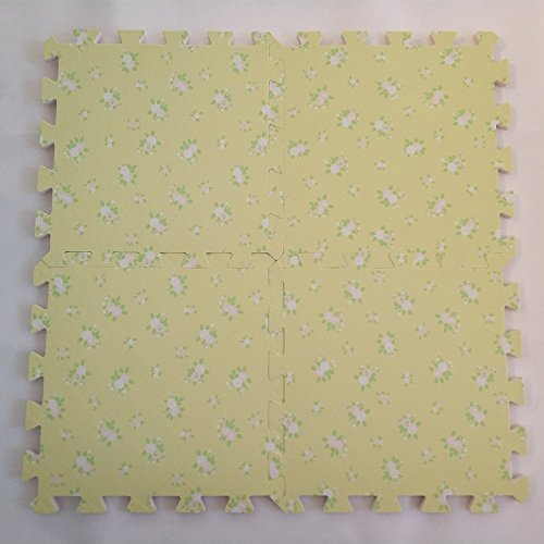 EVA Solid foam puzzle mat with light flower pattern used for exercise/yoga size:12″X12″ 3/8″Thick 9PCS/bag