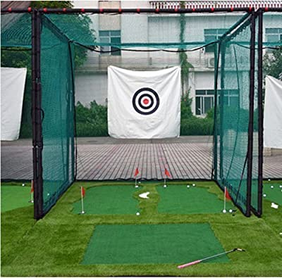 77Tech 10'x10'x10'Large Golf Hitting Cage Target Net with Complete Frame Kit & Poles,Heavy Duty Net with Target Cloth
