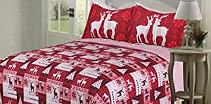 Christmas Quilt Bedspreads 3 Piece Set - Bedspread Coverlet and Holiday Pillow Shams - Premium Quality Microfiber Red and White Bed Covers with Reindeer and Christmas Tree Design