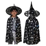 Boys / Girls Black Wizard Halloween Fancy Dress Costume (Hat & Cape)