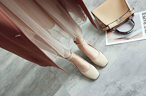 Alto Correa Las 45 De 2018 Talón Mujer Solos Zapatos Primavera De Tallas Grandes Tobillo 40 Tacón De Citas Cuadrado Nuevo Mujeres Beige Zapatos Zapatos SwC0xRq
