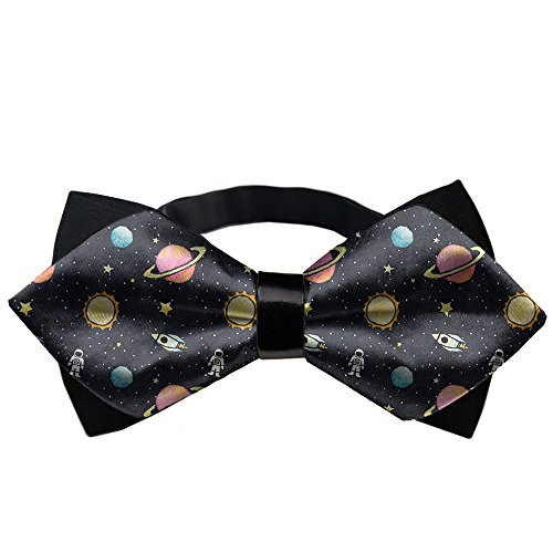 AMERICAN TANG Men's Luxury Formal PU Bowtie Elegant Adjustable Bow Ties Men - Planet Moon Stars Rocket Outer ()