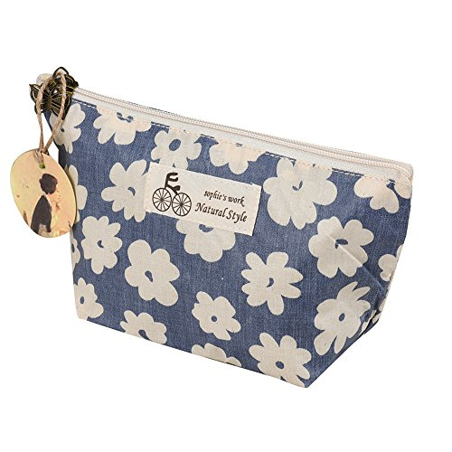 charmsamx Lipstick Cute Pouch Toiletry Travel Bag Heavy Duty Multi-purpose Linen Zipper Cosmetics Makeup Travel Toiletry Organizing Pouch with Cherry Blossoms Wash Organizer Purse Handbag (Blue) (Best Leather Conditioner For Luxury Handbags)
