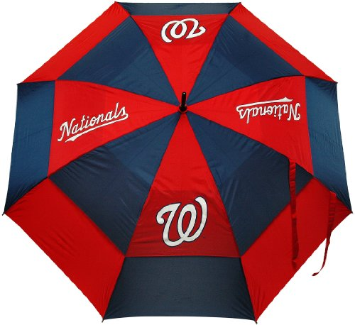 """Team Golf MLB 62"""" Golf Umbrella with Protective Sheath, Double Canopy Wind Protection Design, Auto Open Button"""
