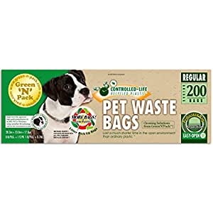 Green N Pack Premium Pet Waste Bags (BPA Free), for Pantries and Outdoor Waste Stations, 200-Count
