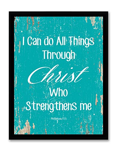 Art Hub I Can Do All Things Through Christ Who Strengthens Me - Framed - Bible Verse Quote Canvas Print, Black Plastic Framed, Aqua, 14x18