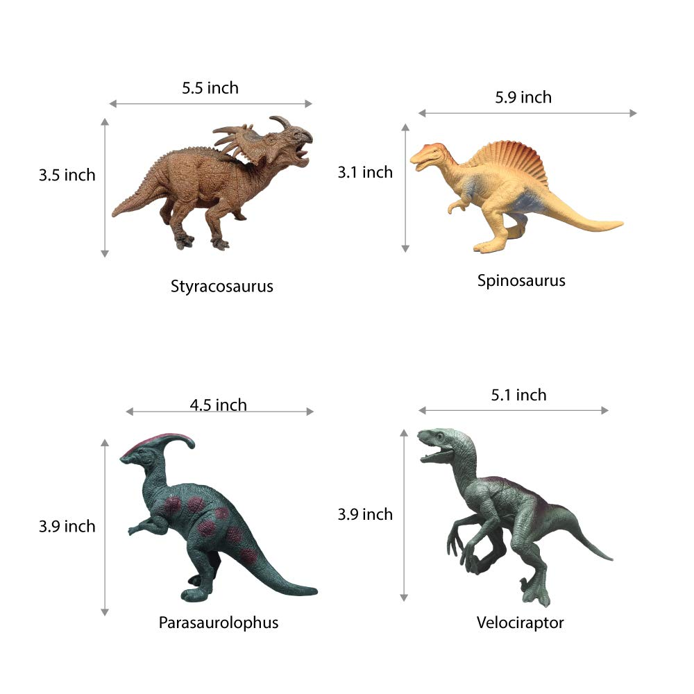 UTC Global Extremely Realistic Looking 7 Dinosaurs Pack of 12 Large Plastic Assorted Dinosaur Figures