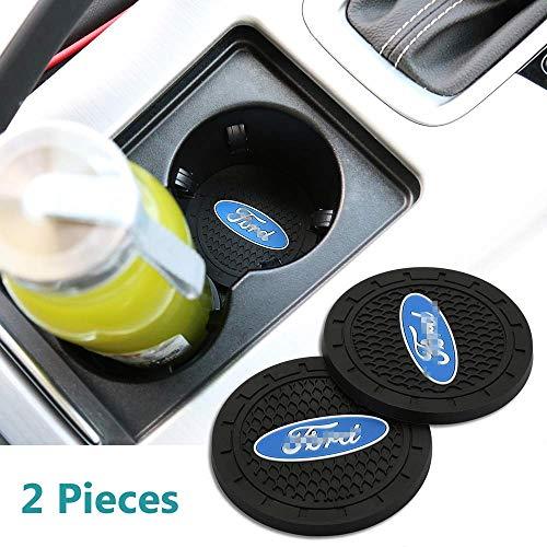 Jhaze 2 Pcs 2.75 inch Car Interior Accessories Anti Slip Cup Mat for Ford Focus,kuga,Fusion,Mondeo,Fiesta,Transit,Mustang, Ranger,F150,F250 F350, Edge, Explorer,etc All Models