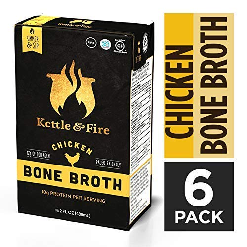 Chicken Bone Broth Soup by Kettle and Fire, Pack of 6, Keto Diet, Paleo Friendly, Whole 30 Approved, Gluten Free, with Collagen, 10g of protein, 16.2 fl oz (Organic Broth Pacific Chicken)