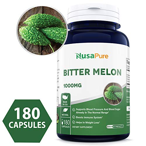 Best Bitter Melon Extract 1000mg 180caps (Non-GMO & Gluten Free) Supports Blood Pressure and Blood Sugar Already in The Normal Range - Made in USA - 100% Money Back Guarantee!