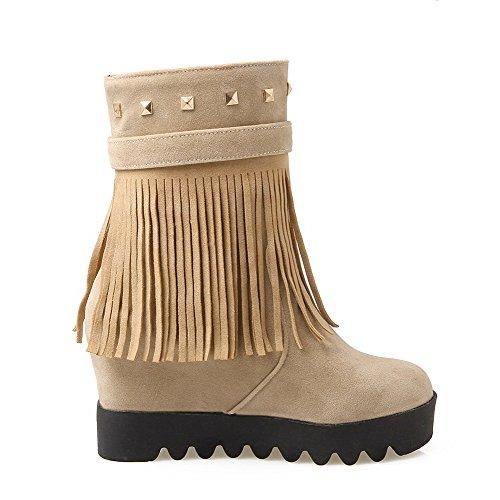 AgooLar Damen Rund Zehe Hoher Absatz Mattglasbirne Ziehen auf Mitte-Spitze Stiefel Cremefarben