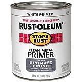 Rust-Oleum 7780504 Protective Enamel Paint Stops Rust, 32-Ounce, Flat White Clean Metal Primer