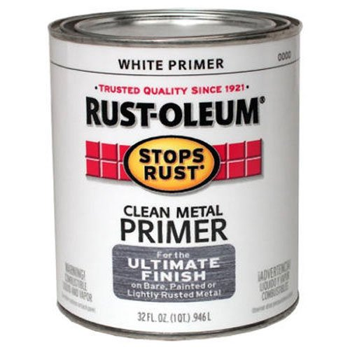 Rust-Oleum 7780502 Protective Enamel Paint Stops Rust, 32-Ounce, Flat White Clean Metal Primer (Best Metal Primer For Rusty Metal)