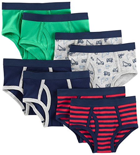 Contrast Trim Briefs - Simple Joys by Carter's Baby Boys' Toddler 8-Pack Underwear, Navy/Red/Trucks/Green, 4-5