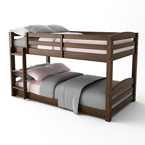 Dorel Living Phoenix Solid Wood Twin over Twin Floor Bunk Beds with Ladder and Guard Rail, Mocha