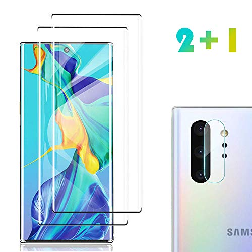 Price comparison product image [2 Pack] Galaxy Note 10 Screen Protector Tempered Glass Include a Camera Lens Protector, Glass Screen Protector with 3D Curved HD Clear Full Coverage for Samsung Galaxy Note10