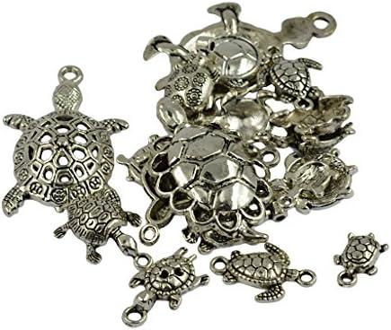 DIY チャーム ペンダント チベットの銀 盛り合わせ 海 ウミガメ カメ 約20個入り