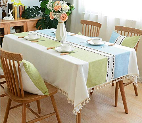 - Could2018 Tablecloth with Tassel Heavy Duty Cotton Linen Fabric Dust-Proof Table Cover for Kitchen Dinning Tabletop Decoration (Square, 55 x 70 Inch) (Green-Yellow Stitching)