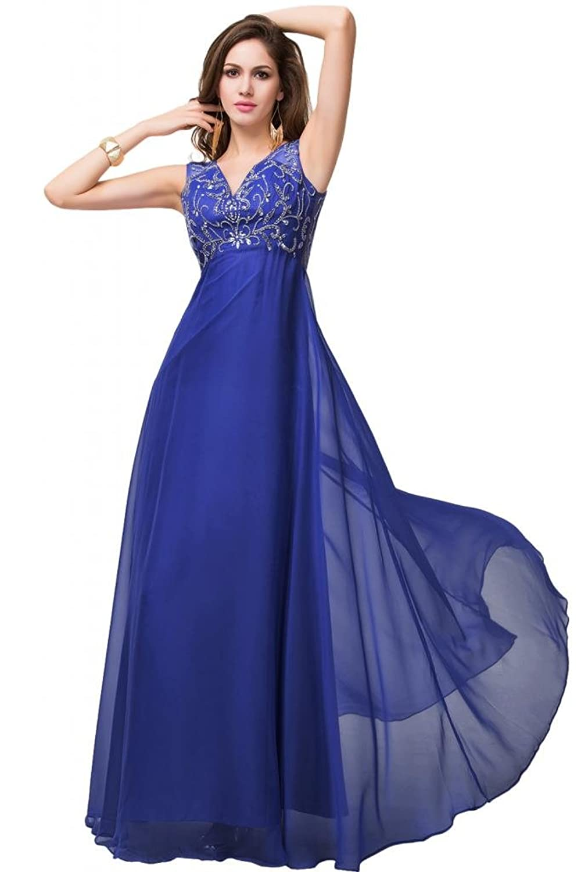 Sunvary Lilac Women Sheer Neckline Empire Waist Bridesmaid Pageant Dresses Long