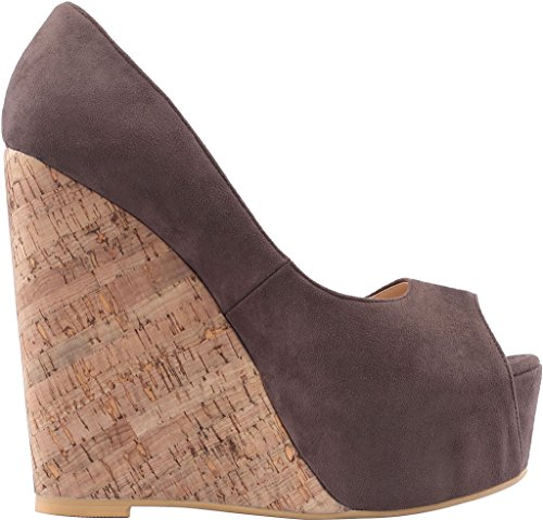 Calaier Womens Casomething Peep-toe 16.5cm Kilklack Slip-on Sandaler Skor Brun