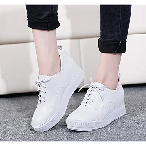 ZHZNVX Flat Sneakers Heel Spring Women's Shoes Comfort Black Nappa Black amp; Fall Leather White arUFa