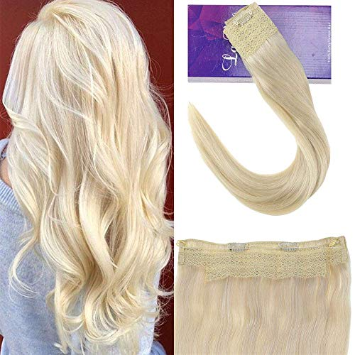 """LaaVoo 16"""" Long Natural Straight Halo Flip on Natural Hairpiece Popular Color Platinum Blonde Hidden Wire Crown Headband in Human HairExtensions 11 Inch Width 80g (#60)"""