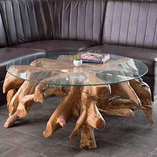 Wurzeltisch mit Glasplatte ca. 80 cm | Teakholz Tisch aus Einer Wurzel | Wurzelholz Tisch aus nachhaltigem Anbau | Jeder Teakholz Couchtisch EIN