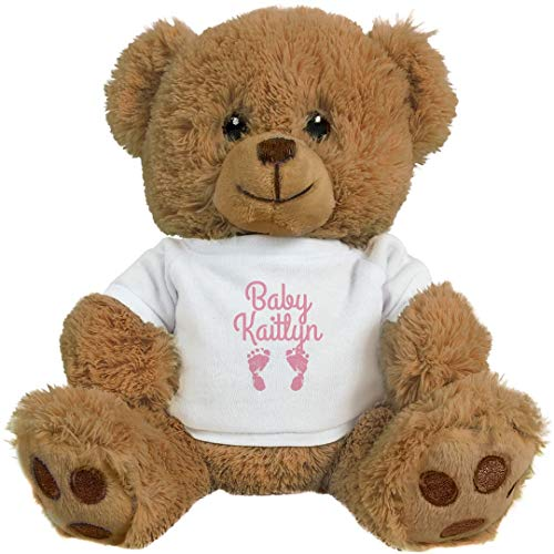 FUNNYSHIRTS.ORG Cute Baby Kaitlyn Gift: 8 Inch Teddy Bear Stuffed Animal -  Printed by eRetailing, 2428665No Size_Brown/White