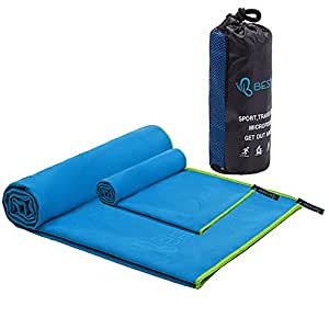 "Microfiber Sports & Camping Towel Set by Bestower - Quick Dry, Absorbent and Packable Travel Towel for Camping, Sports, Backpacking, Beach, Bath, Swimming, 24""*48"" + 12""*40"", Sky Blue"
