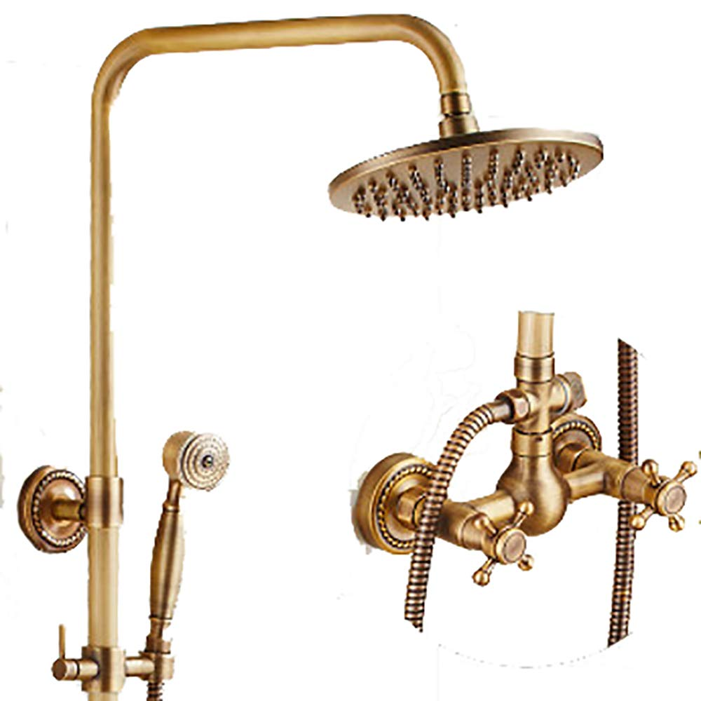 Brass I YYF-SHOWER Shower Systems Vintage Fashion Shower Set, Copper Material, Wall-mounted Family hotel Cold hot Faucet, 3-hole Inssizetion (color   Brass, Size   I)