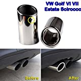 Stainless Steel Exhaust Tail pipe Trim Tip For VW Scirocco 2008-2014 Golf VI VII Durable