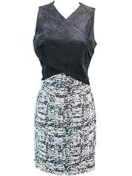 Calvin Klein Womens Petites Faux Suede Surplice Wear to Work Dress Black 2P