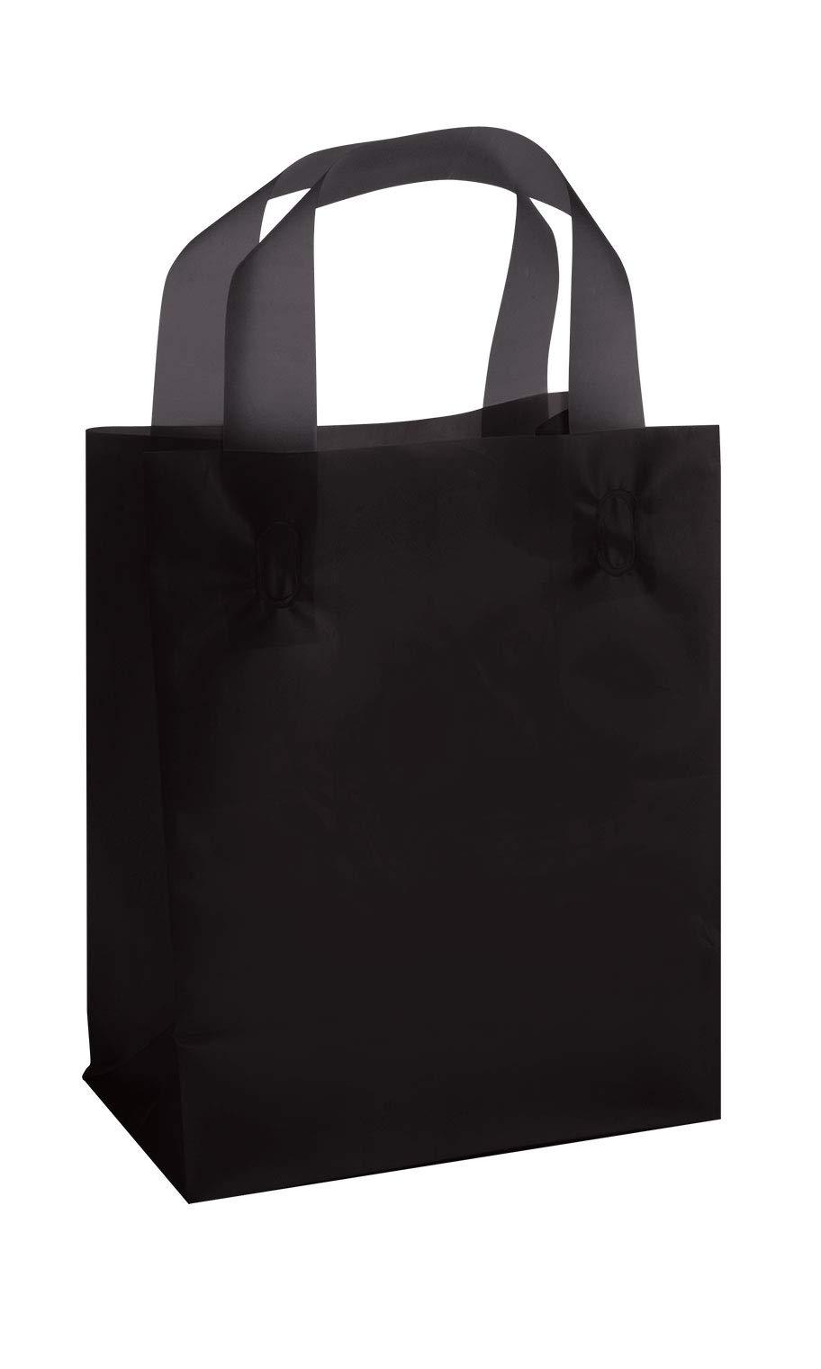 SSWBasics Medium Black Frosted Plastic Shopping Bags - 8'' x 5'' x 10'' - Case of 100
