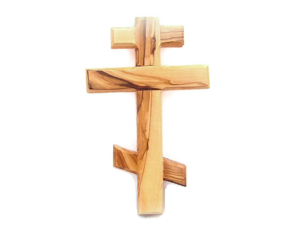 Olive Wood Russian Orthodox Eastern Wall Cross - Holyland (12 cm/4.75) Salsaa