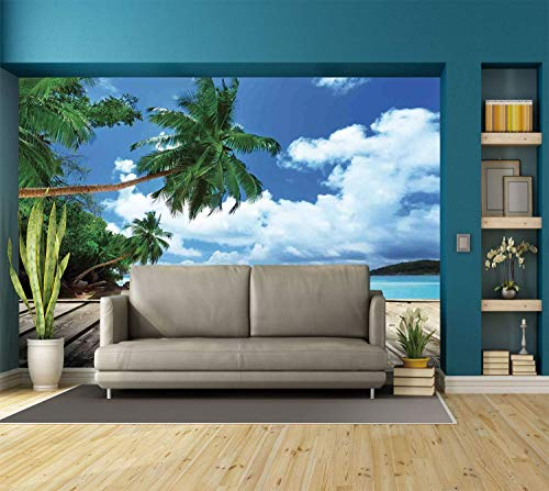Funky Wall Mural Sticker [ Art,Tropical Island Beach from The Deck Pier by The Ocean with PalmTrees Exotic Print,Green Navy Brown ] Self-Adhesive Vinyl Wallpaper/Removable Modern Decorating Wall Art]()