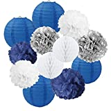 Boys Birthday Party Decorations Boy Baby Shower Decoration-Navy Blue White Silver Party Decoration-Tissue Pom Poms Paper Lanterns Kit for Father Day Wedding Graduation Bachelorette Bridal Shower Party
