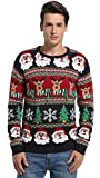 Image of Daisyboutique Men's Christmas Decorations Stripes Sweater Cute Ugly Pullover (Medium, Striped Santa)