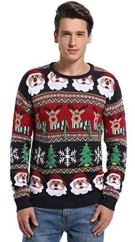 Daisyboutique Men's Christmas Decorations Stripes Sweater Cute Ugly Pullover (Medium, Striped Santa)]()