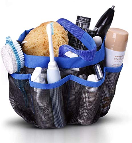 Perfect Life Ideas Mesh Shower Caddy Portable Tote - College Dorm Room Essentials Accessories Organizer Shower Bag for Bathroom, Gym, Camp with 8 Large Pockets Holds All You Need